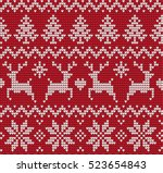 knitted christmas and new year... | Shutterstock .eps vector #523654843