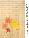 maple and ginkgo leaves on... | Shutterstock . vector #523654993