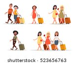 set walking airplane passengers.... | Shutterstock .eps vector #523656763
