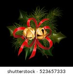 christmas decorations with fir... | Shutterstock .eps vector #523657333