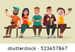 people and gadgets. group of... | Shutterstock .eps vector #523657867
