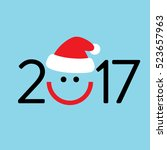 2017 new year logo design with... | Shutterstock .eps vector #523657963