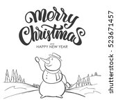vector illustration  winter... | Shutterstock .eps vector #523671457
