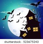 halloween scene with bats and... | Shutterstock .eps vector #523675243