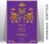 indian wedding card  elephant...   Shutterstock .eps vector #523677313