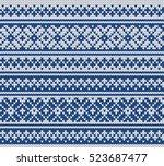 fairisle jacquard seamless... | Shutterstock .eps vector #523687477