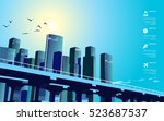 business city landscape with... | Shutterstock .eps vector #523687537
