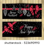 banners set. new year's toys... | Shutterstock .eps vector #523690993