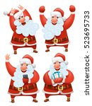 collection of christmas santa...   Shutterstock .eps vector #523695733