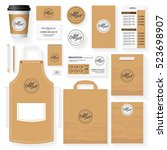 coffee shop identity template... | Shutterstock .eps vector #523698907