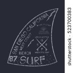 california surf typography  t... | Shutterstock .eps vector #523700383
