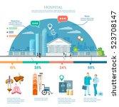 medicine infographic hospital... | Shutterstock .eps vector #523708147