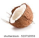 half of coconut isolated on the ... | Shutterstock . vector #523710553