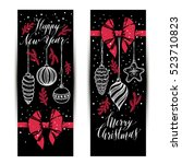 banners set. new year's toys... | Shutterstock .eps vector #523710823