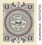 vintage label design for beer... | Shutterstock .eps vector #523716703