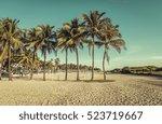 Miami South Beach park with palms, Florida. Vintage colors