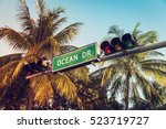 ocean drive sign with palm... | Shutterstock . vector #523719727