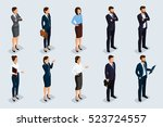 isometric set of men and women... | Shutterstock .eps vector #523724557