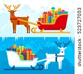 santa sleigh with gifts and... | Shutterstock .eps vector #523727053