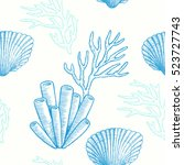 sea life. vector hand drawn... | Shutterstock .eps vector #523727743