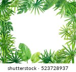 green leaf border background | Shutterstock . vector #523728937
