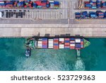 container ship in export and... | Shutterstock . vector #523729363