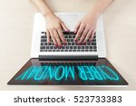 top view of hand typing on... | Shutterstock . vector #523733383