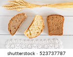 sliced three types of bread on... | Shutterstock . vector #523737787