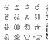 Gardening Icons With White...