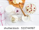 dairy produce. milk in bottle ... | Shutterstock . vector #523744987