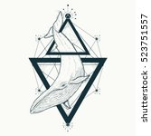 whale tattoo geometric style.... | Shutterstock .eps vector #523751557