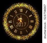 vector 2017 shiny merry... | Shutterstock .eps vector #523758007