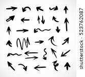 hand drawn arrows  vector set | Shutterstock .eps vector #523762087