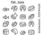 fish meat icon set in thin line ... | Shutterstock .eps vector #523764163