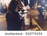 girl pointing finger on screen... | Shutterstock . vector #523774153