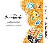 colorful origami happy hanukkah ... | Shutterstock .eps vector #523776247