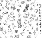 holiday seamless background... | Shutterstock .eps vector #523779247