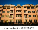 pink condominium building in... | Shutterstock . vector #523783993