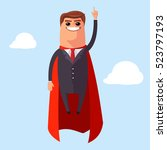 vector super businessman flies...   Shutterstock .eps vector #523797193