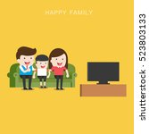 a vector illustration of happy... | Shutterstock .eps vector #523803133