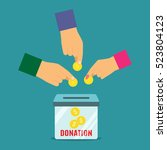men and woman donates the money ... | Shutterstock .eps vector #523804123
