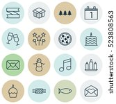 set of 16 holiday icons. can be ... | Shutterstock .eps vector #523808563