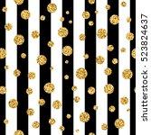 gold polka dot on lines... | Shutterstock .eps vector #523824637