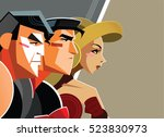 superheroes man and woman... | Shutterstock .eps vector #523830973