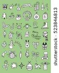 set of christmas doodles | Shutterstock .eps vector #523846813