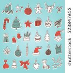 christmas doodle stickers | Shutterstock .eps vector #523847653