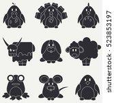 flat silhouette vector icon set ...   Shutterstock .eps vector #523853197