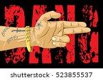 bang bang hand. gangster... | Shutterstock .eps vector #523855537