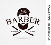 barber shop symbol. modern... | Shutterstock .eps vector #523859923