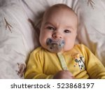 portrait of baby boy angry ... | Shutterstock . vector #523868197